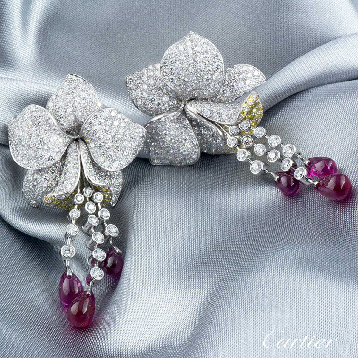 Cartier Caresse D Orchidees Diamond and Ruby Platinum Earrings